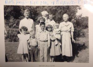 Gustav and Ella Heideman and grandkids on their farm on Plum Creek